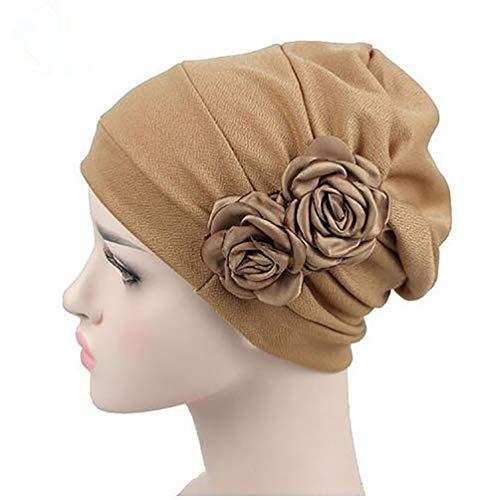 (Tukistore Damen Chiffon Baumwolle Kopftuch Bandana Hüte Krebs Chemo Hygiene Alopezie Make-up Hut Turbanmütze Kopfbedeckung mit Blumen Dekoration)