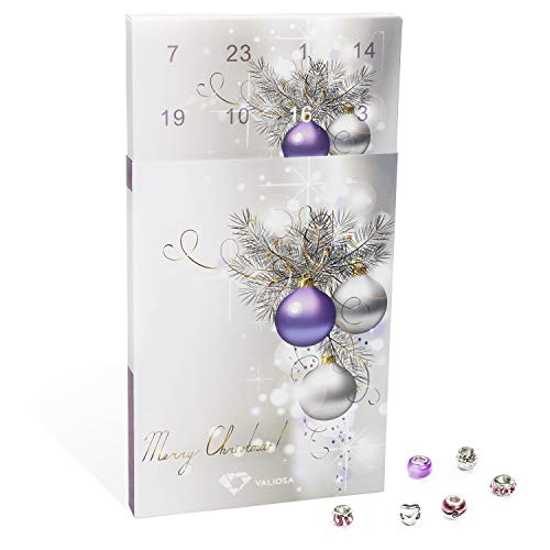 VALIOSA 1000 Schmuck-Adventskalender Merry Christmas, 1 Armband + 1 Halskette + 22 Perlen (1 Set, 24-teilig)