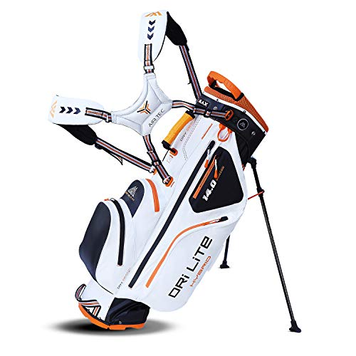 Big Max Dri Lite HYBRID Golf Cartbag & Standbag - Wasserabweisend - 2019 - White/Black/Orange