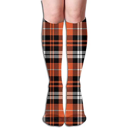 Women's Fancy Design Stocking Pumpkin Fall Plaid Orange,black,white CBS Multi Colorful Patterned Knee High Socks 19.6Inchs