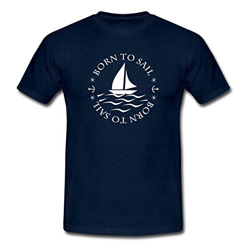 Spreadshirt Segeln Born to Sail Männer T-Shirt, 3XL, Navy