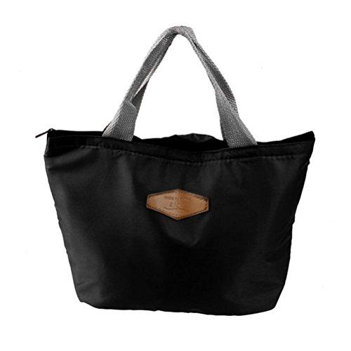 21abbdf6ee12 TiaQ Sac à Déjeuner Isotherme Lunch Bag Style Élégant Sac Repas avec  Pochette Femme Sac à Main (Noir)