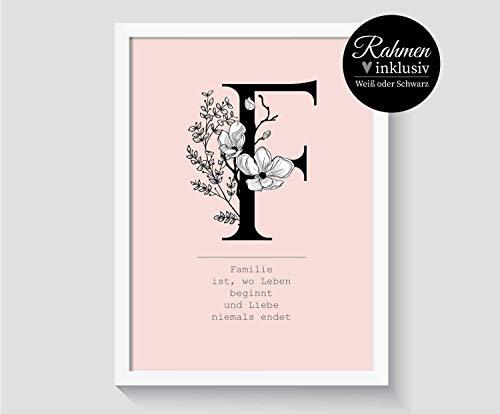 Poster Buchstabe   Personalisiertes Geschenk mit Name   Poster Spruch Sprüche Zitate   mit Bilderrahmen   weitere Farben