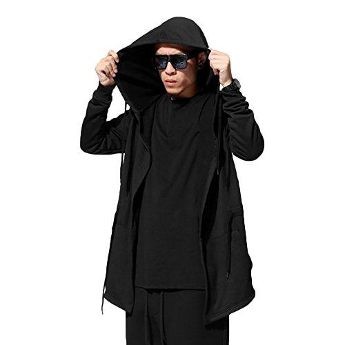 Schwarze Kapuzen Strickjacke (West See Herrem Männer Hoodie Pullover Cardigan mit Kapuze Strickjacke Oversize Mantel Casual (DE S/Etikette XL, Schwarz))