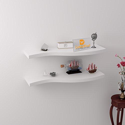 Driftingwood Curved Floating Wall Shelves Rack Set Of 2 - White