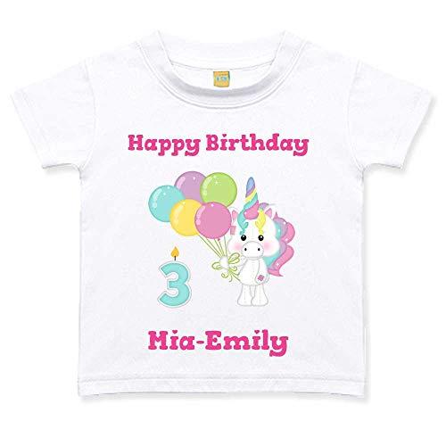Geburtstagstshirt kurzarm Mädchen 1 2 3 4 5 6 Jahre weiß Einhorn Luftballon Geburtstag T-Shirt, Zahl:Zahl 3, Größe:24 bis 36 Monate