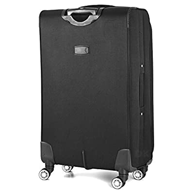 """4 Wheel Spinner Lightweight Suitcases (20"""" (Cabin), Black) - suitcases"""