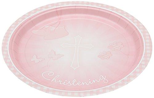 Amscan 23cm rosa Pappteller für die Taufe, 8 Stück