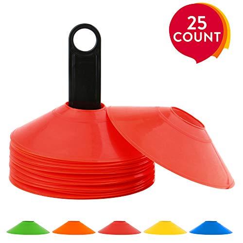 Los conos de entrenamiento de Reehut hacen que te diviertas.El juego de conos de agilidad de Reehut proporciona el mejor entrenamiento para los atletas que buscan mejorar su velocidady precisión.Este juego de 25 conos ayuda a maximizar tu aceleración...