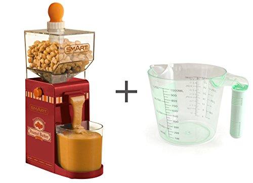 (Smart Peanut Butter Maker Maschine Bundle mit gratis 1 Liter Messbecher, verwenden Sie es als Mandelbutter Maker, Cashew Buttermacher oder jede Nussbutter – Retro Red NBM400)
