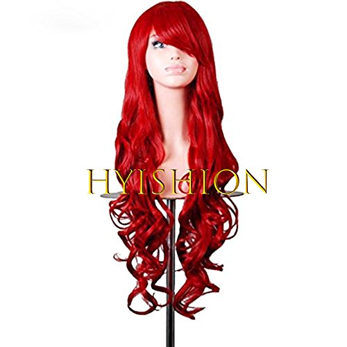esistant Curly Long Thick Body Wave 2 Tone Ombre Wig Dark Roots Synthetic Lace Front Wigs Hairs Synthetic Wigs For Women(31.5,Red) (Womens Dark Lady Kostüme)