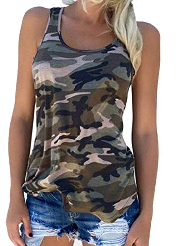 Vests Home Damen Camis Printed Top Sleeveless Rundhalsausschnitt Vogue Camo Tanks (Color : Green, Size : X-Large) - Green X-large Camo