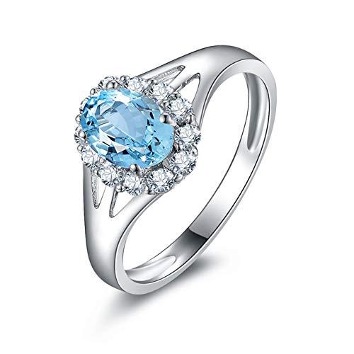 SonMo Silber 925 Ring Trauringe Verlobungsring Paarringe Silber Oval Stein Blume Solitär Ring Hellblau Topas Ovalschliff Damen Ring Zirkonia 60 (19.1)