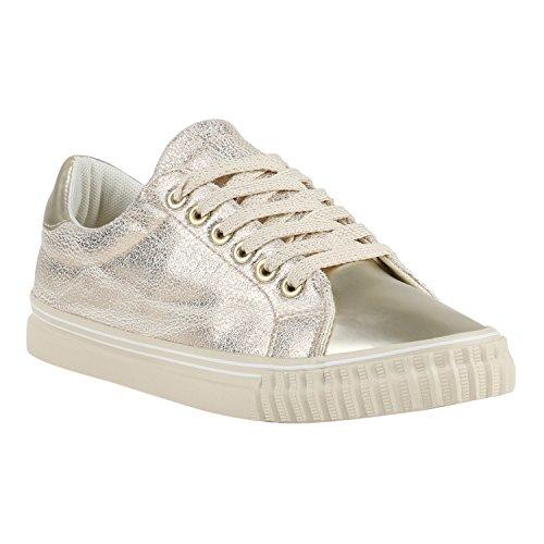 Glänzende Damen Sneakers Metallic Glitzer Pailletten Flats Turnschuhe Gold Beige Gold