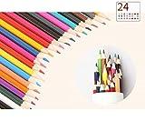 B&Julian® Buntstifte Set 24 Farben sechskant für Kinder und erwachsen Farbstifte in Box Dose Etui Aufbewahrung