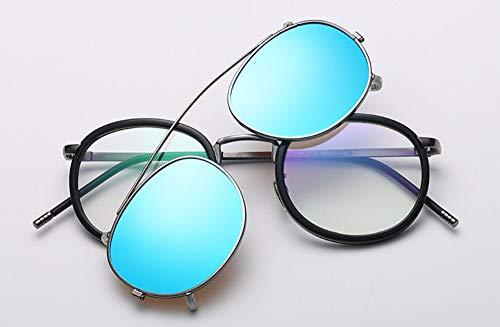 WSKPE Sonnenbrille Linse Abnehmbarer Polarisierte Sonnenbrillen Clip Auf Metall Brillen Sonnenbrillen, Blaue Linse