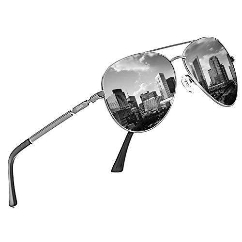 DUCO Coole Fliegerbrille Sonnenbrille Klassische Unisex Pilotenbrille UV400 Filterkategorie 3 CE 3025K (Gestell: Gunmetal, Gläser: Grau)