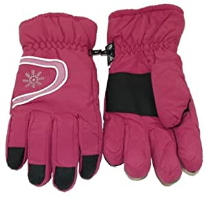Ladies cerise pink Thinsulate ski gloves with silver snowflake - one size.