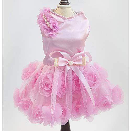 und Tutu Rock Cute Pet Puppy Kleine Hund Prinzessin Kleidung Bogen Blase Rock Puppy Kleidung Hund Kleid Bekleidung,Pink,L ()