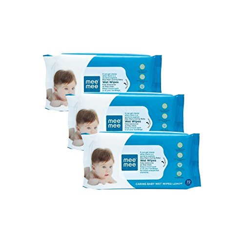 Mee Mee's Caring Baby Wet Wipes 72 pcs pack of (3) one tooth brush Free Rs 49/-  available at amazon for Rs.297