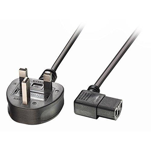 LINDY 304483m Netzkabel 3-Pin-UK-Stecker rechts abgewinkelt IEC C13Power Kabel–Schwarz