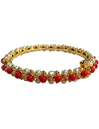 SABIS handcrafted GOLD Plated ADJUSTABLE SCREW type BANGLE for GIRLS AND WOMEN ( WHITE ,RED)