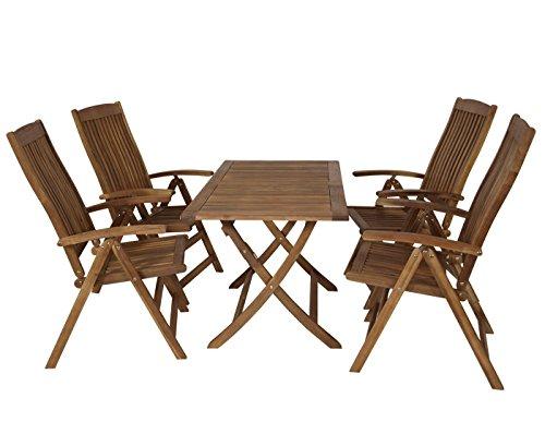 NFP Sitzgruppe 4 Hochlehner Stühle 1 Tisch Gartenmöbel Holz Gartentisch Esstisch Sitzgarnitur...