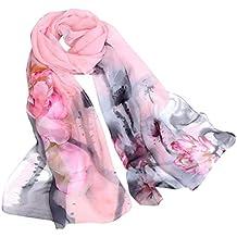 6d90f812686 Cinnamou Fashion Dames Etoles Lotus Impression Longue écharpe Molle Dames  Echarpes De Châle Pour Les Femmes