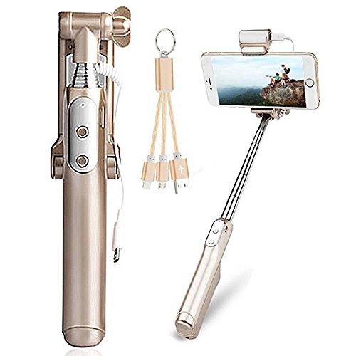 Bonice Bastone Selfie Bluetooth Selfie Stick Asta per Selfie Autoritratto Fotografico Selfie Stick Espandibile con Bluetooth Remote Shutter, Compatibile con Smartphone iOS e Android: iPhone 8 / iPhone 8 Plus / iPhone X, iPhone 7 / 7 Plus / 6 / 6s / 6 Plus / 5 / 5s / SE / 5C / 4 / 4S, Samsung S8 / S8 Plus / S7 / S6 Edge / S4 / S5 / S3 ecc - Oro