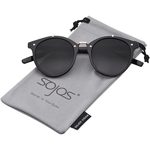SOJOS Schick Klassische Runde Verspiegelt Sonnenbrille Unisex SJ2054 mit Schwarz Rahmen/Grau Linse