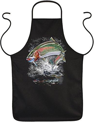 Super Coole Schürze in schwarz mit Top USA Motiv Unisex: Jumping rainbow trout -