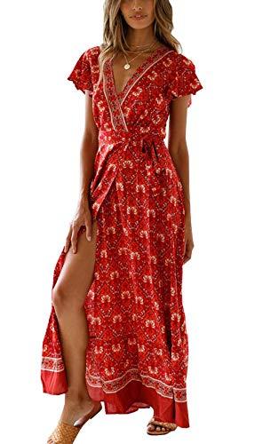 Ajpguot Sommer Damen Lange Kleider Kurzarm V-Ausschnitt Strandkleider Blumen Kleid Maxikleid mit Schlitz Partykleider Abendkleid, Weinrot, S (Damen Billig Kleider)