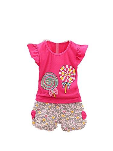 Heiße Mädchen T-shirt (Vovotrade Kleinkind Kinder Baby Mädchen Outfits Lolly T-Shirt Tops + Kurze Hosen Kleider Set 2PCS (Größe:2/3T))