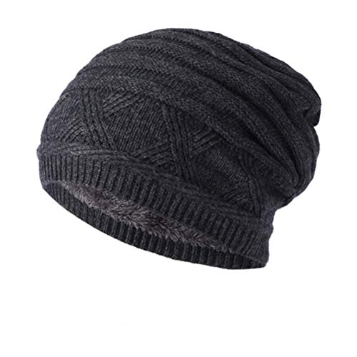 LLmoway Herren Damen Winter-Strickmütze Warme Baggy Slouchy Skull Beanie Fleece Skimütze - Grau - Medium Fleece Beanie