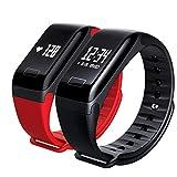 JJSSGGJJSSHH Sport Armband F1 Smart Band Smart Armband Schrittzähler Pulsmesser Health Tracker Monitor Smart Armbänder für IOS Android, schwarz