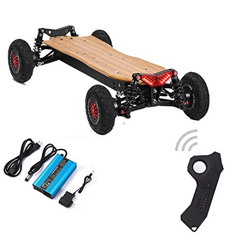 ARQANJ- Professionelles Skateboard Elektro Longboard Offroad Allrad Einzelrad Federung Dämpfungssystem Erwachsener Geländescooter 50KM /H, Ausdauer 35KM (Color : Four-Wheel Drive)