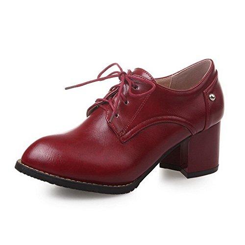 AllhqFashion Damen Rein Pu Leder Mittler Absatz Ziehen Auf Pumps Schuhe Rot