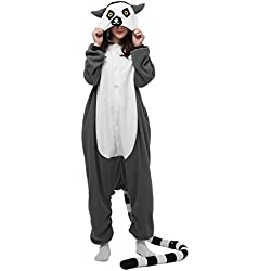 DELEY Unisexo Adulto Caliente Animal Kigurumi Pijamas Cosplay Disfraz Homewear Mamelucos Ropa De Dormir Lemur Tamaño M