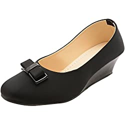 Babes Women's Black Designer Fashionable Lycra Platform Bellies with Dutch Heel (8 UK, SLIP ON)