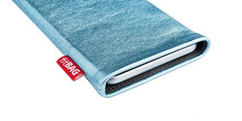 fitBAG Beat Grau Handytasche Tasche aus Echtleder Nappa mit Microfaserinnenfutter für Apple iPhone 1G Groove Türkis