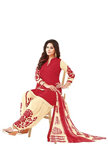 Salwar House Women\'s Red & Beige Synthetic Self Printed Unstitch Dressmaterial Salwar Suit with Dupatta