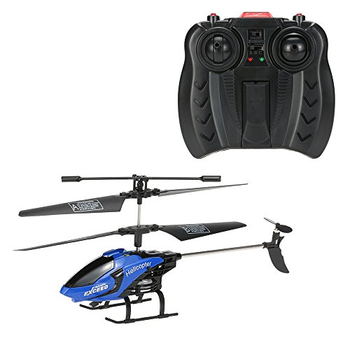 GoolRC Remote Control Helicopter Toys with LED Light Navigation & Gyroscope Stabilizing System Indoor/Outdoor RC Helicopter(Blue)