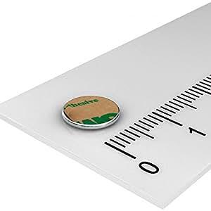 20 x Neodym Scheiben Magnet, 8 x 0.75 mm, vernickelt, selbstklebend durch Klebefolie, Grade N35, Basteln
