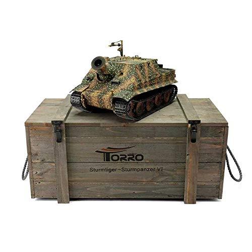 RC Auto kaufen Kettenfahrzeug Bild 4: Torro 3819-I - Sturmtiger Panzer mit Metallunterwanne IR, hinterhalt tarnlackierung*