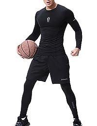Vosujotis Gli Uomini di Sport in Compressione Stretto Leggings Basket I  Pantaloni dc03f163f7c