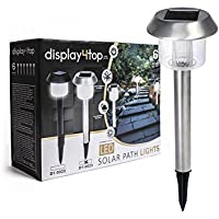 Display4top 6 Pack Solar Powered Garden Lights Outdoor Super-Bright 15 Lumens,Easy No-Wire Installation; All-Weather/Water-Resistant,Use for Path, Walkway, Patio and Landscape (Stainless Steel)