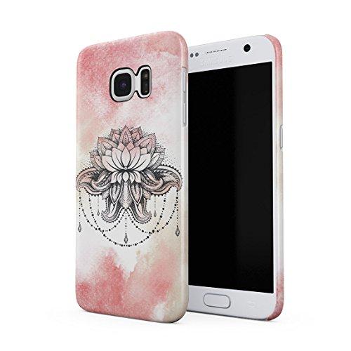 Henna Pink Watercolor Lotus Blossom Dünne Rückschale aus Hartplastik für Samsung Galaxy S7 Handy Hülle Schutzhülle Slim Fit Case Cover - Pink Henna