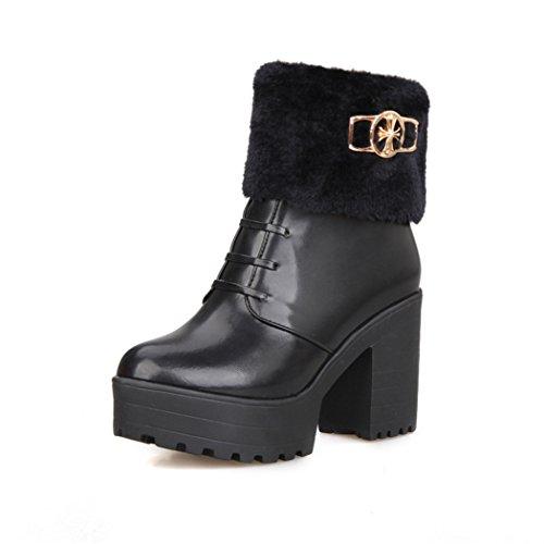ZQ@QXcadeau de Noël L'Europe et de l'United States Code imitation cashmere tirant avant bridage bottes imperméables avec des bottes épaisses