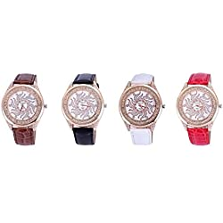 Newest style women watches leather dress quartz alloy round luxury rhinestone rose gold plated for ladies