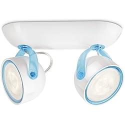 Philips myLiving Dyna - Aplique con 2 focos, iluminación interior, LED, luz blanca cálida, IP20, color azul